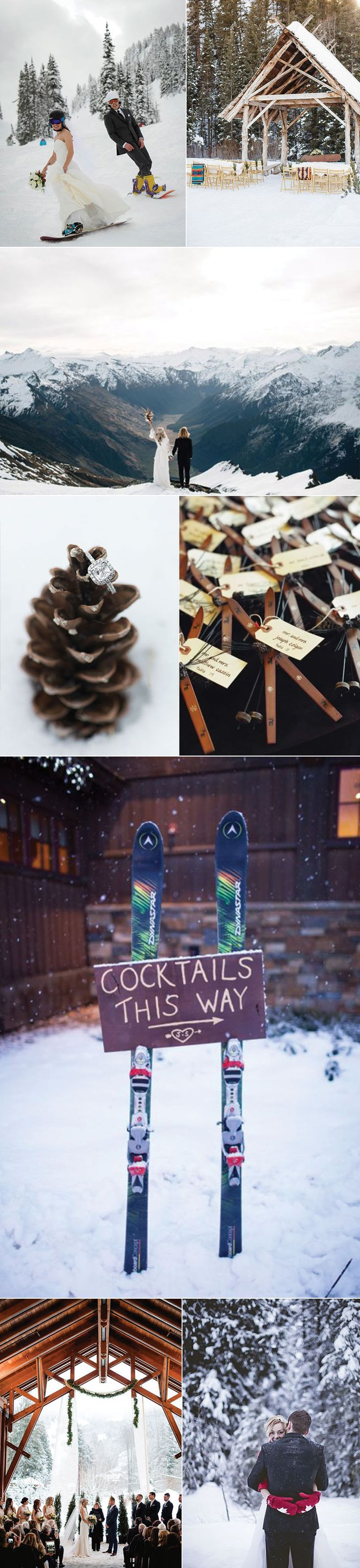 Winter Wedding Ideas for Snow Boarders and Skiers. Ski Lodge Wedding Ideas.