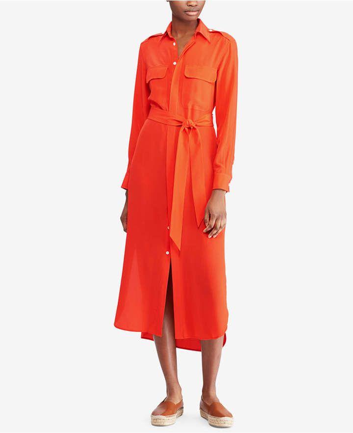 e9245a8fd3 Polo Ralph Lauren Belted Silk Shirtdress  ralphlauren  polo  america   sweater  summer