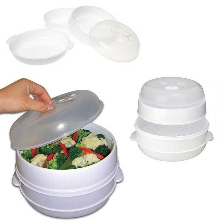 2 Tier Microwave Steamer Pasta Vegetable Fish Rice Healthy Eating Pot