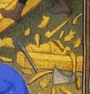 Two small planes with toat in the scene of building of the ark from the Bedford Hours (1410-1430), as well as a large plane. British Library, Add. MS 18850 folio 15v. 2