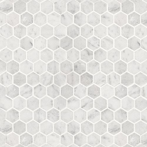 This is a marble mosaic cut into a hexagon pattern. In my world I would use this as feature wall in bath and use same stone as kitchen slabs.