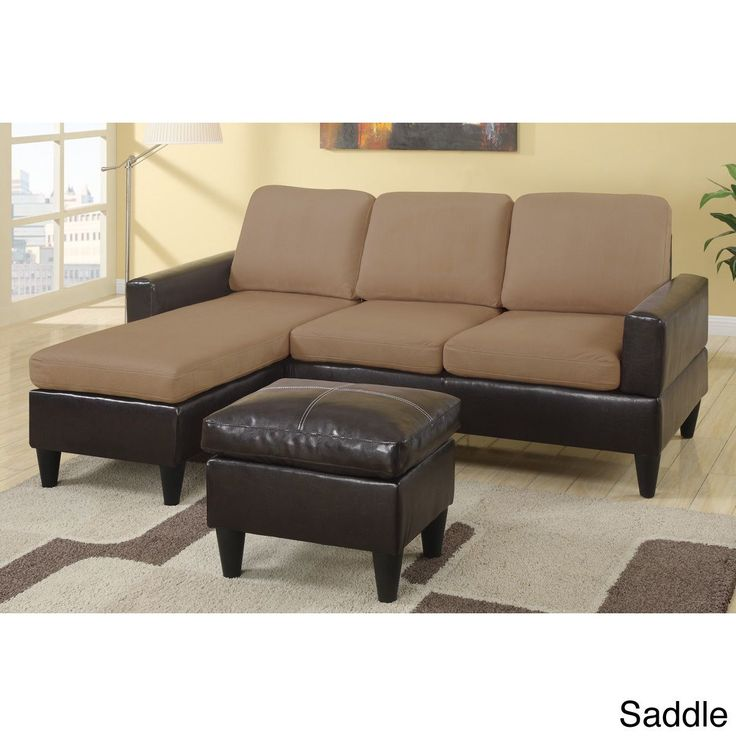 Poundex Dunkirk Sectional Couch in 2 tone Microfiber &