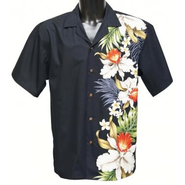 chemise hawaienne ...SIDE ORCHID Noire