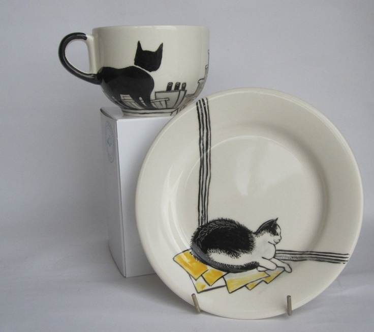Handpainted breakfast mug and plate  Amsterdam by houseofharriet, $100.00