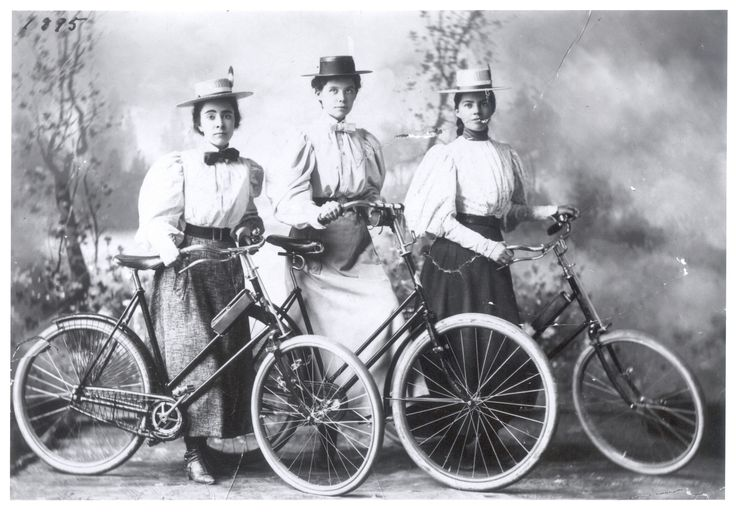 Clara Hill and friends, professional photo with Bicycles. Minnesota Historical Society