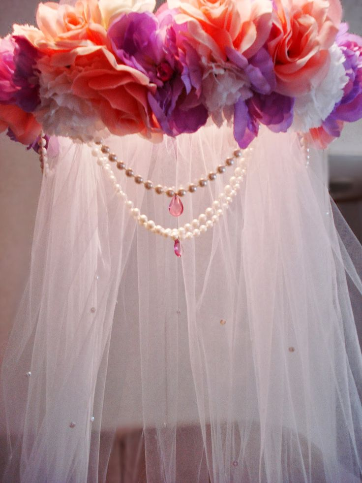 DIY 'Princess' Flower Easy Canopy. Love the idea but different coloured flowers, more tulle and no pearls