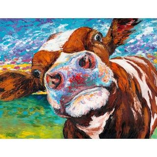 Shop for Marmont Hill - 'Curious Cow I' Painting Print on Wrapped Canvas. Get free delivery at Overstock.com - Your Online Home Decor Shop! Get 5% in rewards with Club O!