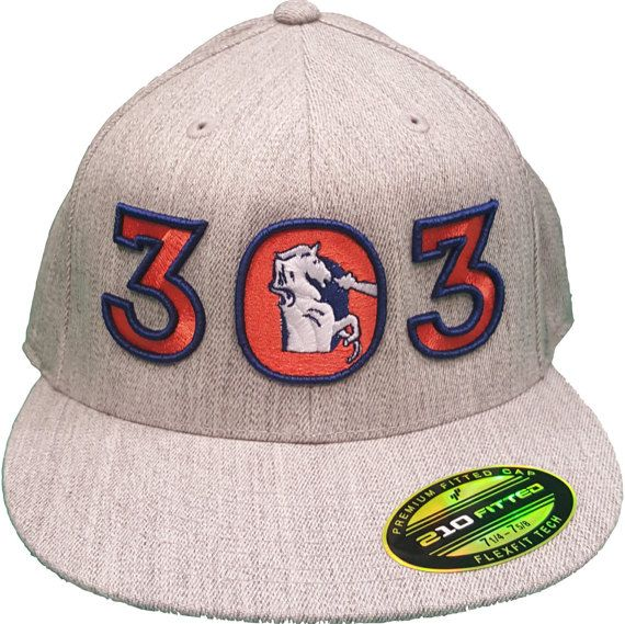 303 Colorado Old Bronco Horse  Flexfit 210 Hat Outline Raised