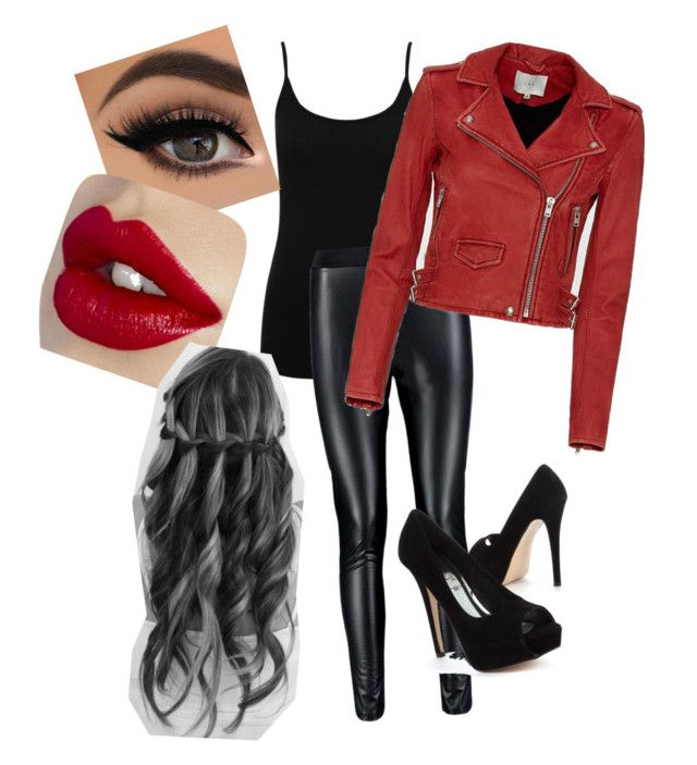 """Red  Biker Jacket Outfit"" by amilne-10 ❤ liked on Polyvore featuring M&Co and IRO"