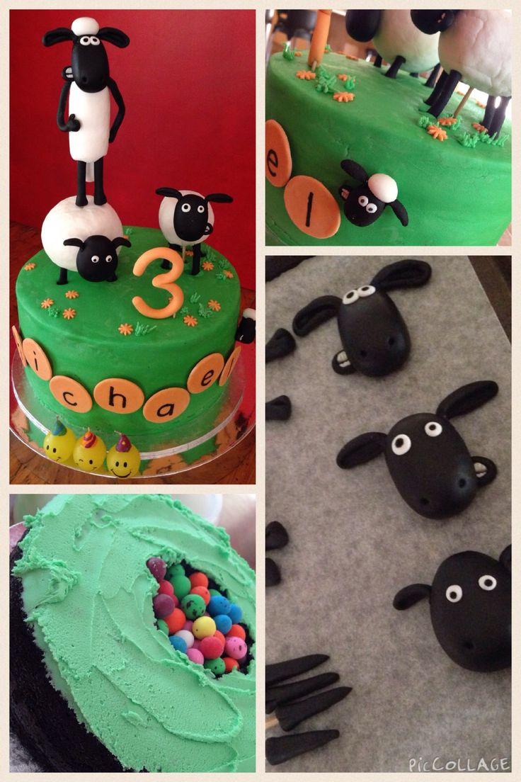 Shaun the sheep cake... fondant figures on buttercream frosting