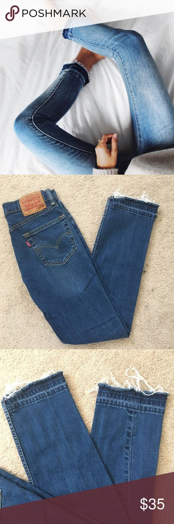 Raw Edge Levi Denim Jeans Perfectly on trend denim jeans from Levi! Great straight leg style for that casual look. In great condition, no visible signs of wear. (Note first picture is not the actual pair on sale, just a 'trend example'. Levi's Jeans Straight Leg