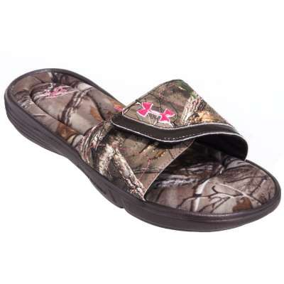 Under Armour Sandals: 1252542 200 Ignite Camo VII Women's Cleveland Brown  Realtree Slide On Sandals