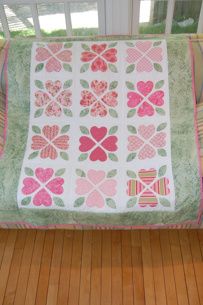 Made for my soon-to-be-born neice.  Pink and green are the colors of the baby's room.