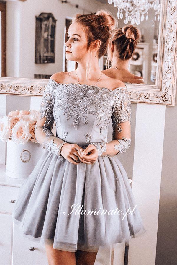 5d1ca3017f VIVIAN szara w 2019 Illuminate Sukienki tiulowe t Prom