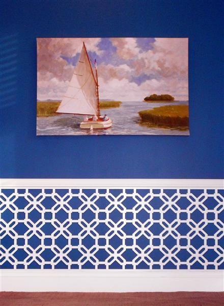 white overlay on the wallGuest Room, Dining Room, Custom Gigi, Decor Ideas, Chairs Railings, Wainscoting Ideas, Bright Blue, Ikea Hacks, Bedrooms Ideas