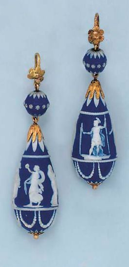 A PAIR OF ANTIQUE WEDGEWOOD AND GOLD EAR PENDANTS  Each drop-shaped blue and white Wedgewood pendant, depicting classical figures, from a textured gold cap, to a boule surmount of similar design, accented by a textured gold flowerhead, mounted in gold, circa 1930