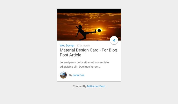 A card style blog post build with HTML5 , CSS3 and a little bit of jQuery.......
