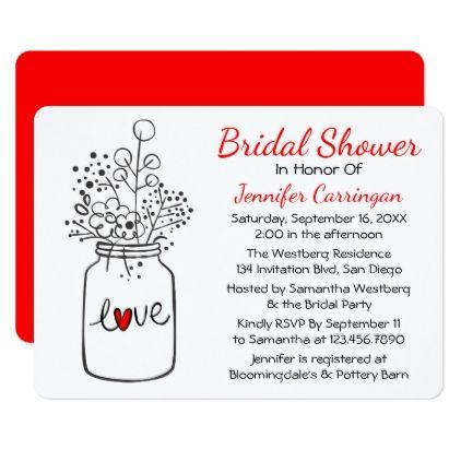 Rustic Red Bridal Shower Mason Jar Flowers Card - invitations custom unique diy personalize occasions