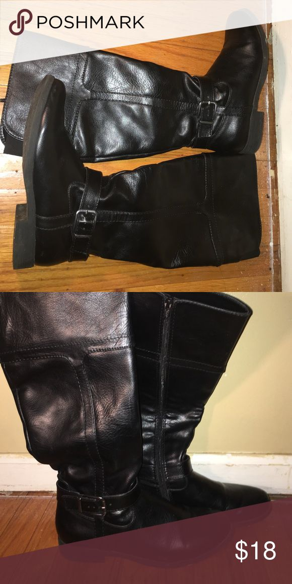 Knee Length Boots Great condition. 1/2 inch chunky heel. Comes to right under the knee. Silver buckle. Super comfortable and versatile. Not as wide and baggy as they look in the pictures croft & barrow Shoes Over the Knee Boots
