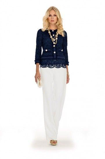 Giacca di pizzo blu - Giacca blu di pizzo con pantalone bianco da cerimonia della collezione Luisa Spagnoli primavera/estate 2015