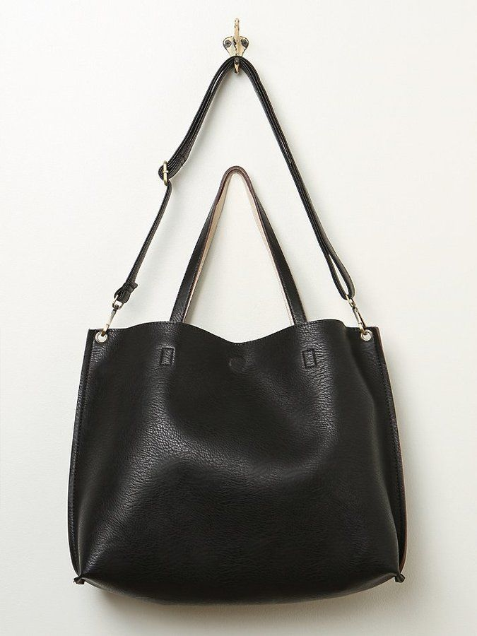 $68, Black Leather Tote Bag: Free People Slouchy Vegan Tote. Sold by Free People. Click for more info: http://lookastic.com/women/shop_items/12501/redirect