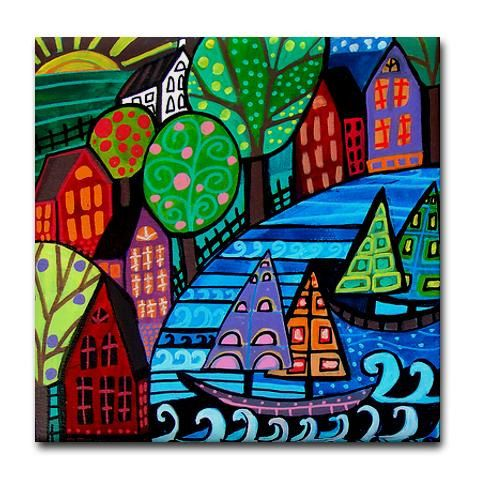 60% Off Discount Code OFFNOW60 Landscape Art art Tile Ceramic Coaster Mexican Folk Art Print of painting by Heather Galler dog