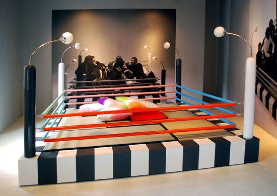 tawaraya, a boxing ring-cum-playpen with a monochrome striped base, pastel colored ropes designed by masanori umeda image © designboom