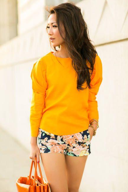 Happy Colors :: Floral Shorts & Orange Tote  #