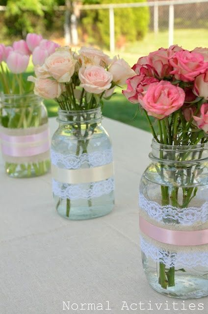 Lace and ribbon around the jars super simple and would look great on your wedding photography!!