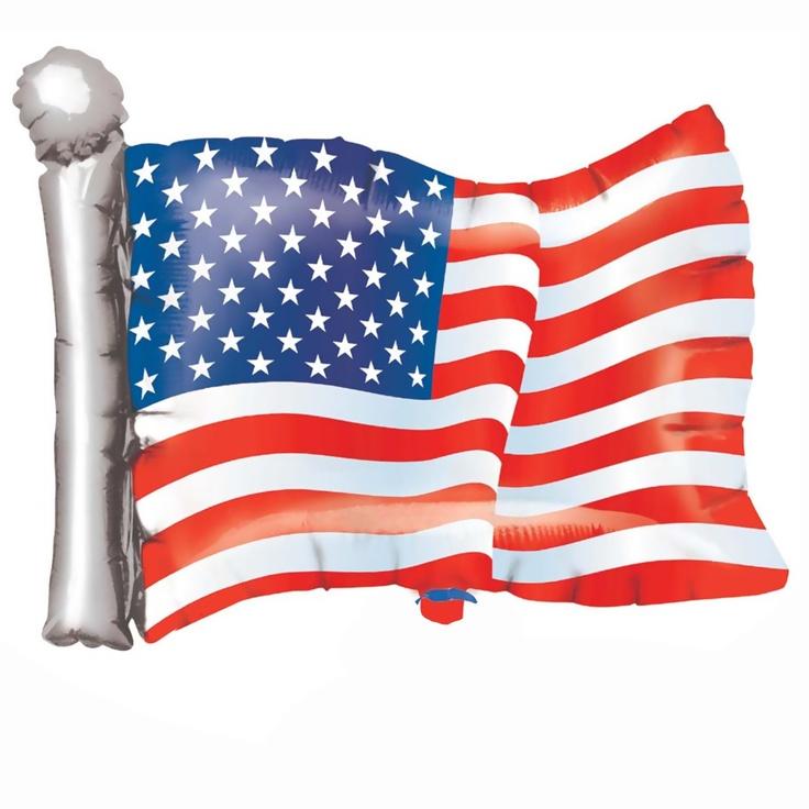 "American Flag Shaped Jumbo Foil Balloon - Includes (1) jumbo foil balloon; 27"" x 22"""