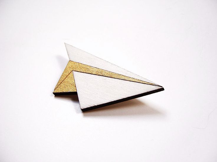 Hand painted, laser cut, plywood brooch - Paper plane