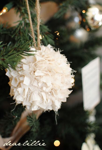 Rag ball ornament...I would use home spun fabric in christmas colors