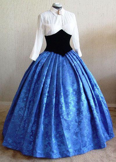 White blouse, blue skirt =]