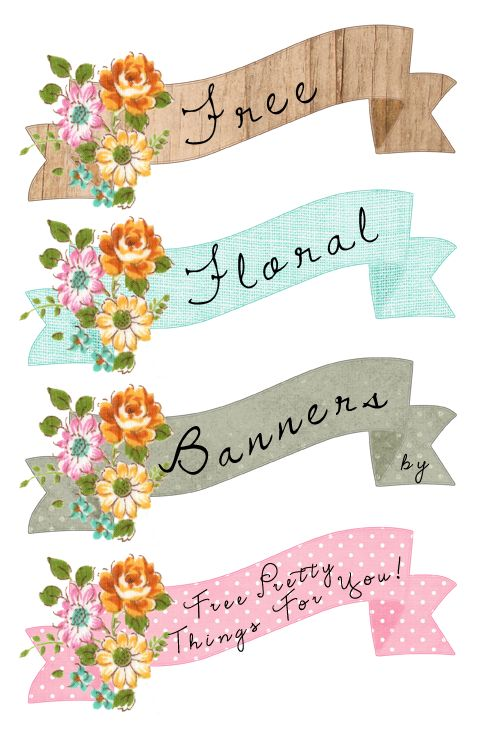 Free Pretty Floral Printable Banners over @penny shima glanz Douglas Pretty Things For You