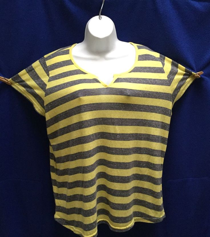 DEREK (3X) Grey And Yellow Striped Short Sleeve Blouse #Derek #Blouse #Any