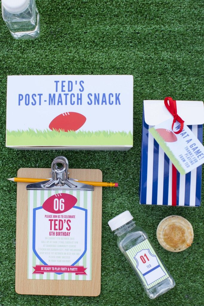 Custom designed AFL/ Footy themed party stationary from Love JK. The boys loved this at Ted's footy themed party!