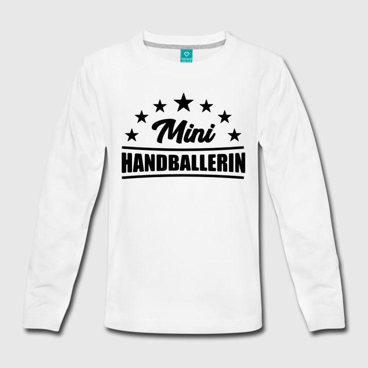 Mini Handballerin T-Shirt - Handball T-Shirt Teenager Premium Langarmshirt  - Weiß