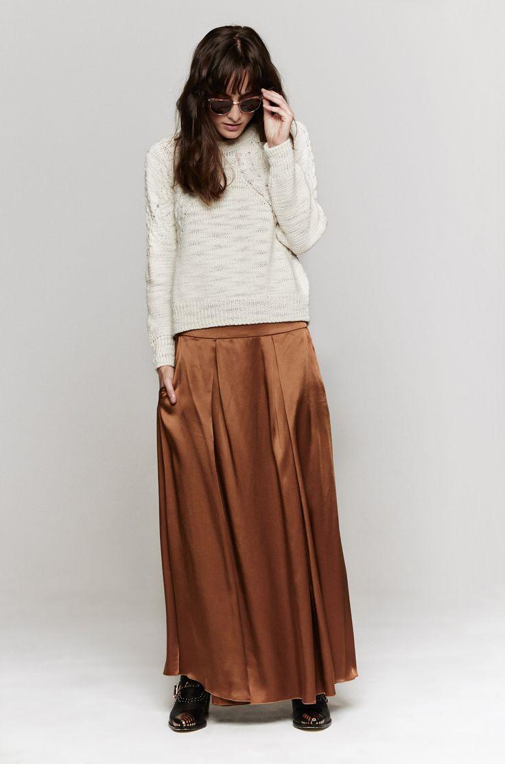 Giada Forte Pleated Satin Skirt In Cammello