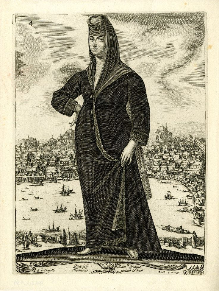 Greek woman in mourning clothes, standing with right hand on hip and lifting her long, dark coat with her left hand; in the background, a view of Constantinople; after La chapelle. c.1648 Etching and engraving