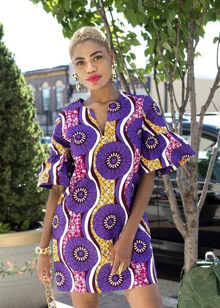 Modern African Dresses - Purple African Print Shift Dress – D'IYANU