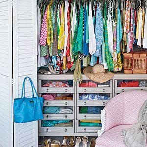 Put the dresser in the closet. CoastalLiving.com: Small Closet, Dreams Closet, Palms Beaches, Kids Closet, Closet Design, Closet Organizations, Closet Space, Closet Ideas, Organizations Closet
