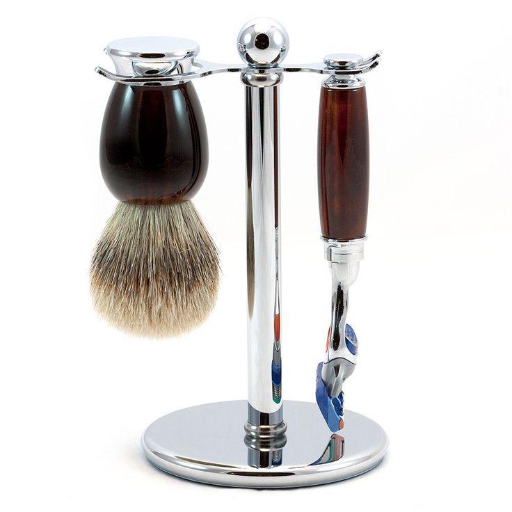 """""""Yonge"""" 3-Piece Gillette Fusion Shaving Set in Imitation Tortoise, Silvertip Badger Shaving Brush"""
