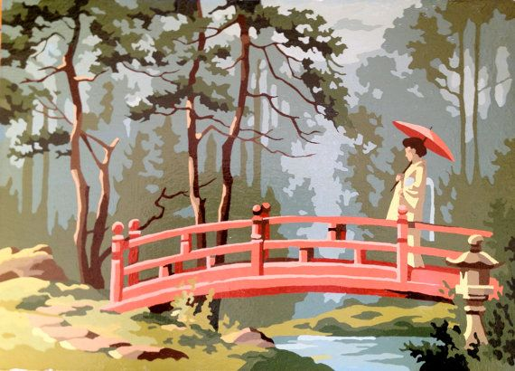 Vintage Paint by Numbers Oriental Garden Painting by RODDYBLUE