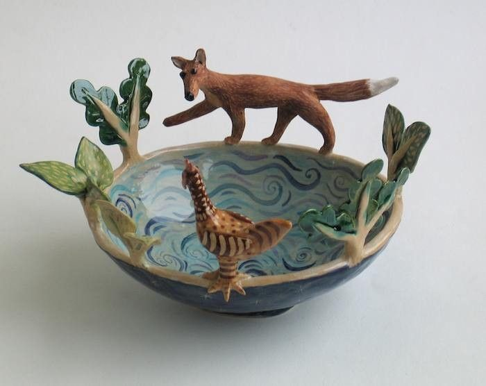 Fox and Hen Bowl by Helen Kemp