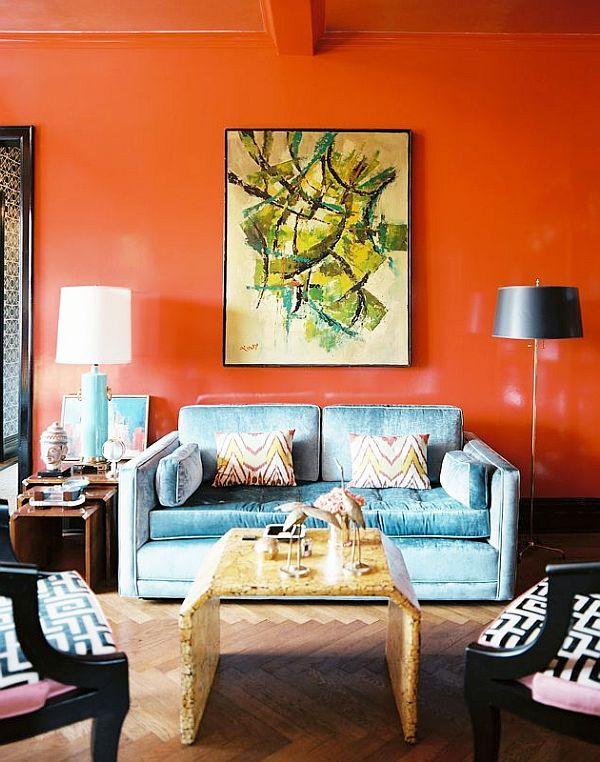 glossy orange walls in living room