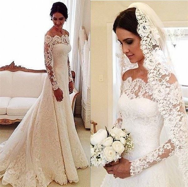 White Off-the-shoulder Lace Long Sleeve Bridal Gowns, Cheap Simple Custom Made…