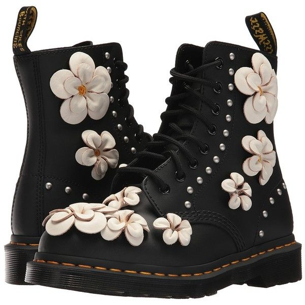 Dr. Martens 1460 Pascal Flower (Black Hydro Leather) Women's Boots (€135) ❤ liked on Polyvore featuring shoes, black laced shoes, leather lace up shoes, leather shoes, black lace up shoes and slip resistant shoes