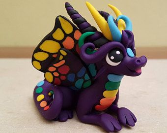 purple butterfly dragon sculpture, handmade rainbow dragon figurine, polymer clay fantasy creature, original gift idea for her, decorative