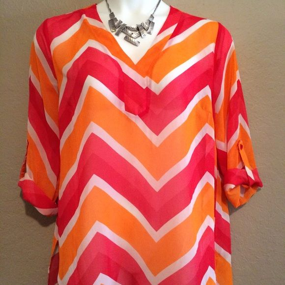Pink & Orange Chevron Top Sheer 3/4 sleeve pink and orange chevron high low top. Tacera Tops