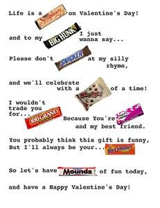 Valentine's Day Candy Poem I will change big hunk to sour patch kids!